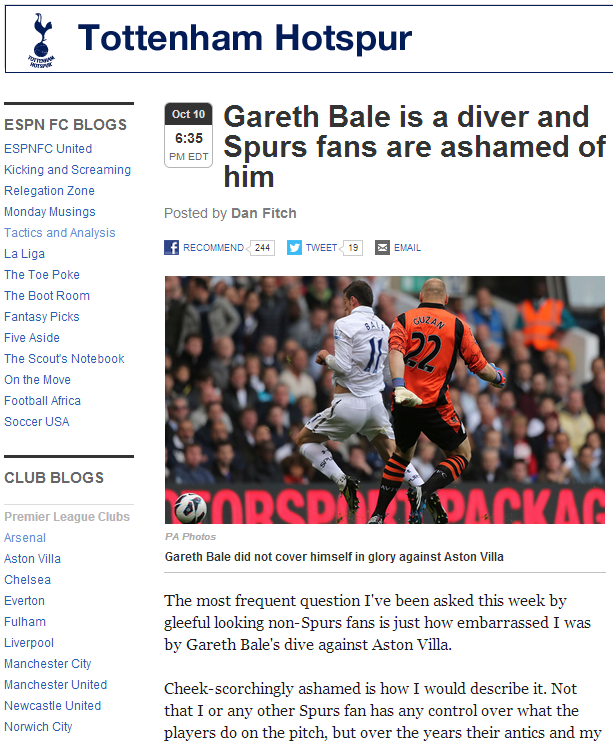 Gareth Bale is a diver and Spurs fans are ashamed of him - ESPN FC