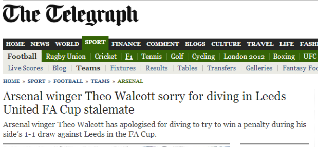 Theo Walcott sorry for diving in Leeds stalemate - Telegraph