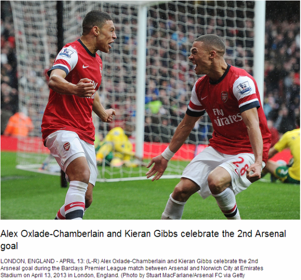 Alex Oxlade-Chamberlain and Kieran Gibbs celebrate the 2nd Arsenal goal - Flickr - Photo Sharing!