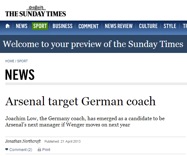 Arsenal target German coach - The Sunday Times