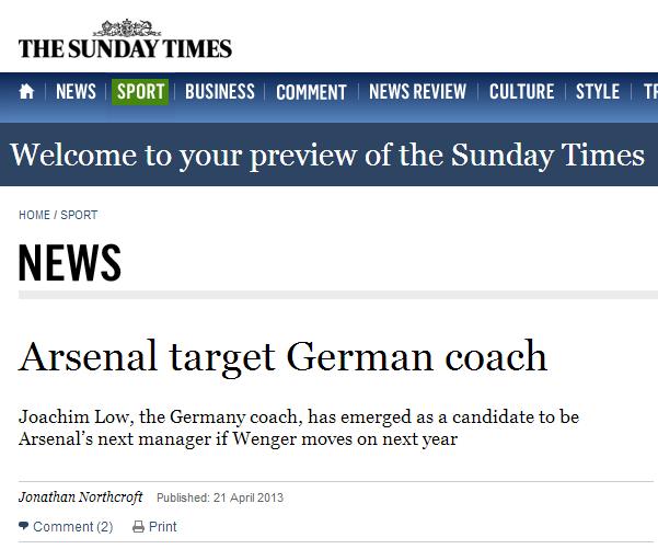 Arsenal target German coach - The Sunday Times
