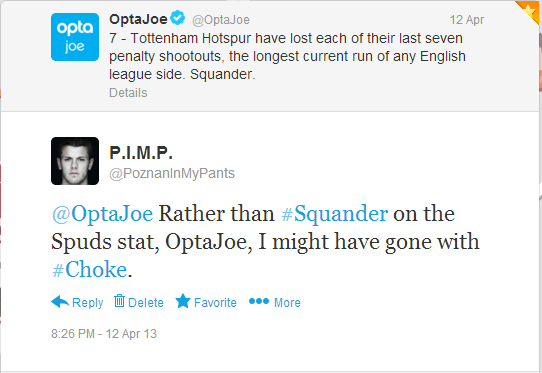 Twitter - PoznanInMyPants- @OptaJoe Rather than #Squander ...