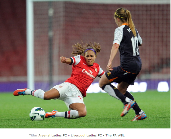 Alex Scott Of Arsenal Challenges Louise Fors Of Liverpool… News Photo - Getty Images - 168254397