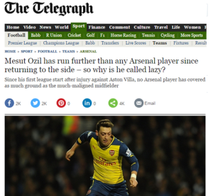 Telegraph on Lazy Ozil 2