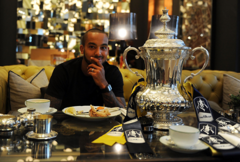 Theo has breakfast with the FA Cup